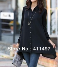 Free Shipping 2014 Spring Hot Elegant 2xl/3xl/4xl/5xl chiffon blouse,Long Sleeve Black Ruffle  Shirts*Blouses Cheveron(China (Mainland))
