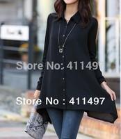 Free Shipping 2014 Spring Hot Elegant 2xl/3xl/4xl/5xl chiffon blouse,Long Sleeve Black Ruffle  Shirts*Blouses Cheveron