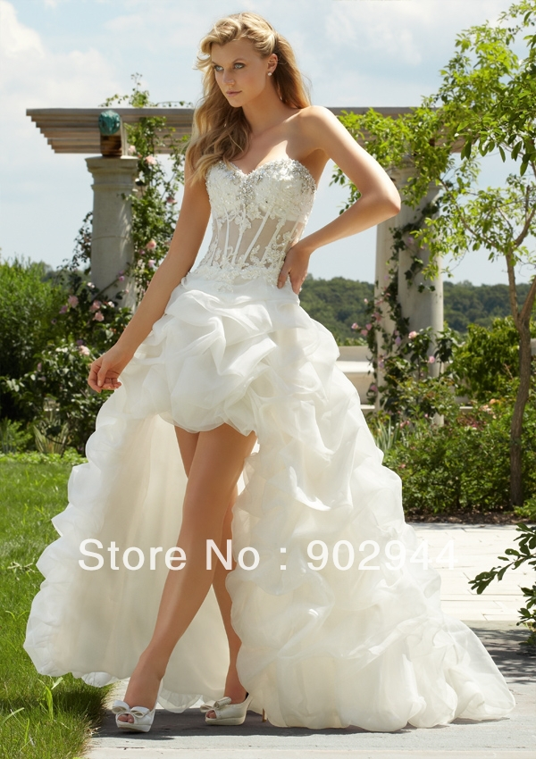 Wedding Dress Short Corset : Sexy white ivory short front and long back see through