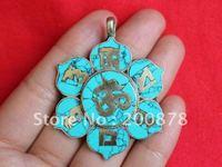 TBP442  Tibetan copper six words mantras Amulet pendant,38mm,Nepal turquoise vintage flower charm