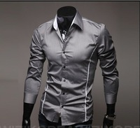 Freeshipping,2013 Fashion Brand Cropping Perfect Slim Personalized Bordered Male Long-Sleeve Casual Shirt ,Hot Selling,XXXL