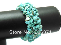 "4X8mm Howlite Turquoise Chip Beads Gem stone Bracelet Bangle Stretchy 7"" WBB022"