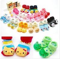New born anti slip floor socks baby fashion cotton socks lovely booties infant slipper socks 24 pair/lot