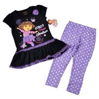 Free shipping 4set/ lot 4~7T girl summer clothing set the explorer dora lace top + printed stars purple legging