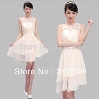 New Fashion Woman Gauze Champagne Sleeveless Graceful Short Evening Party Chiffon Dress FZ083