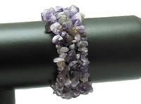 new natural amethyst gem stone chip bead bracelet WBB016