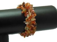 "4X8mm Carnelian Chip Beads Gem stone Bracelet Bangle Stretchy 7"" WBB023"
