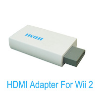 HDMI Converter Adapter for Wii 2 hdmi 480p 3.5mm Audio Box White free shipping