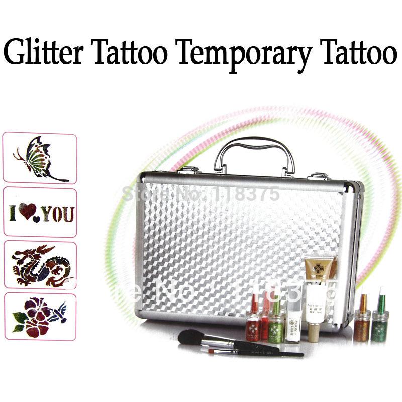 EMS Free shipping 10Sets/Lot Body Art Temporary tattoo kit Deluxe Kit glitter tattoo kit PH-K006 Hot sale supplies(China (Mainland))