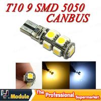 CANBUS T10 W5W 194 168 9 SMD 5050 LED NO ERROR Car Wedge Turn signal Clearance led bulb White 12V 4pcs Free shipping #YNB45