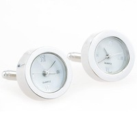 White Round Watch Cufflinks