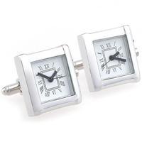 Silver Square Watch Cufflinks