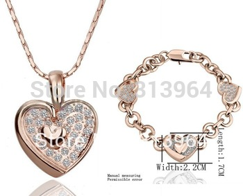 Free shipping  2013 new fashion crystal set Heart-shaped necklace bracelet full set - have you in my heart