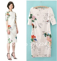 2014 spring autumn winter fashion woman   Chinese style peony  print white qipao dress dresses free shipping xhf