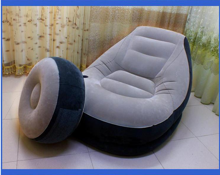 Intex elegant thickened inflatable sofa chair with an air footstool and an air pump, brand single air PVC flocking sofa(China (Mainland))