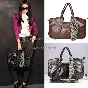4pcs/lot drop shipping Fashion Women PU Leather Tote Shoulder Bag Ladies Purse Handbag With Scarf 3colors 3825