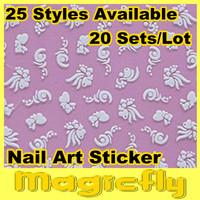 [DGTZ-007]NEW 3D nail sticker 20pcs/lot random designs fashion nail art sticker+Free shipping