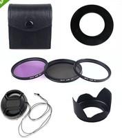 55MM  UV CPL FLD Filter Kit +the flowers Lens Hood & Cap For digital camera free shipping