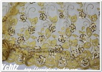Golden embroidery morning glory gauze paillette   clothes diy fabric lace  fashion Fabrics