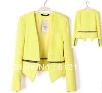 2013 New Fashion Women Brand Casual Suit Slim Unique Short Jacket Fashion  Cross zipper  Blazers Women OL Coat FreeShipping