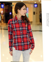 Women Button Down Casual Lapel Shirt Plaids Checks Flannel Shirt Top Blouse W4037