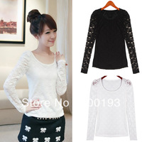 SMILE MARKET Free Shipping Puff Sleeve O-Neck Lace Full T Shirt (Color: Black,Whie)