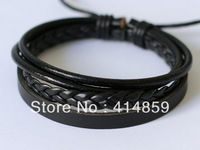 354 Black men leather bracelet Fashion sports leather jewelry Holiday gift Leather rope woven bracelet men