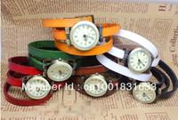 Big Discount Fashion long real cow leather strap watch women quartz watches free shipping