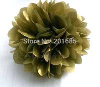 "4""/6""/8""10"" Tissue Paper Pom Poms Flower Balls Wedding Party Shower Baby Birthday Decoration Gold 10pcs"