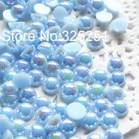 Resin AB light blue pearl 1.5-12mmmm 10000-1000pcs/lot flat back half pearl free shipping