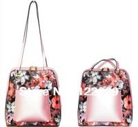 2014  New Summer holiday traval  fashion Genuine leather flower print women's handbag free shipping shoulder bag