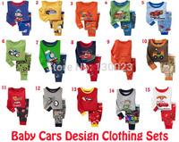 Baby Many Cars Design Clothing Sets Kids 100% Cotton Pajamas Children Pyjamas sets Boys Long Sleeve Pijamas Girls Sleepwear Sell
