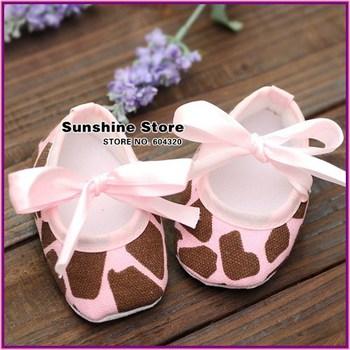 Giraffe infant Baby Ballerina Crib 2015 shoes deer grain!antiskid baby moccasins prewalker bow girls booties #2B2022 3 pair/lot