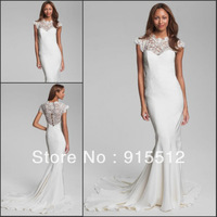 Hot Sale Elegant Scoop Neck Cap Short Sleeves Lace Court Train Mermaid Wedding Dress Custom Made Bridal Wedding Dress