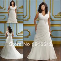 Hot Sale Elegant V-Neck Low Cut Ruched Lace Up Court Train Sheath Wedding Dress Custom Made Bridal Wedding Dress