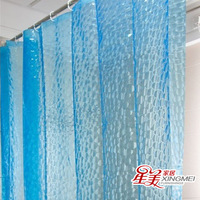 Set eva waterproof 3d watercubic thickening shower curtain copper beads buckle hook