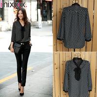 IMIXBOX Fashion Sexy Women's 3/4 Sleeve Polka Dot Print Top Shirt Blouse Chiffon W4040