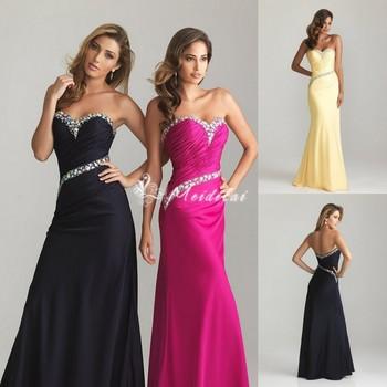On Sale Sweetheart Diamonds Floor-Length Yellow Black Prom Ball gown Evening Dresses MDL015 Mermaid 2013