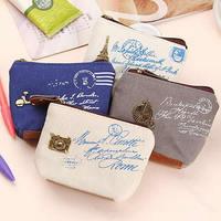 Fashion Zipper Coin Purse Wallet Burse Cartoon Key Fabric Cotton Canvas Bag Free Shipping