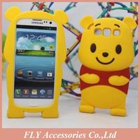 10pcs/lot Free ship ! New Carton 3D Bear Silicone case for Samsung Galaxy III I9300 Soft Lucky Bear case for Samsung i9300