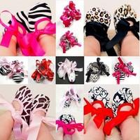 Infant Baby Toddler Girl Dot Damask Zebra Leopard Print Silk Ribbon Shoe Newborn Free shipping & Drop shipping LKM043- LKM048