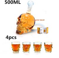 Free Shipping 4 Pcs/Pack Crystal Skull Head Vodka Whiskey Shot Glass + 1 pc Crystal Head Skull Bottle 500ml