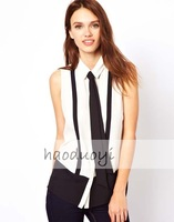 Chiffon clothing office ladies white and black patchwork turn-down collar shirts with tie New Fashion 2013