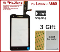 Best Quality !!! Touch screen Digitizer front glass replacement for Lenovo A660 Touch Screen  Front Glass +Free Screen Protector