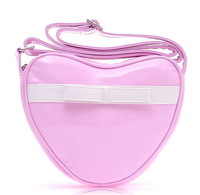 free shipping Pink heart-shaped PU Leather Versatile Compact Bag/ Shoulder Bag/ Messenger Bag