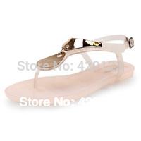 Hot sale 2014 summer mellisa gold metal crystal jelly sandals flip flops rain shoes women shoes