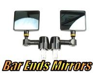"Free Shipping Folding Bar End Motorcycle Mirror Motorbike 7/8"" CNC Aluminum Black Rectangle"