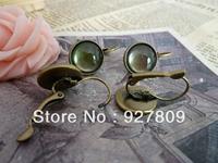 Diy accessories ancient bronze circle stud earring  12mm 10pcs/lot