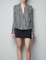 Hot Selling Women's  Deep V-neck Long-Sleeve Blouses Fashion Black And White Striped Shirt S M L