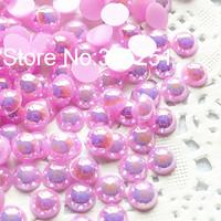 Resin AB light purple pearl 1.5-12mm 10000-1000pcs/lot flat back half pearl free shipping